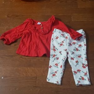 Two Piece Set: Red Ruffle Top & White Floral Pant